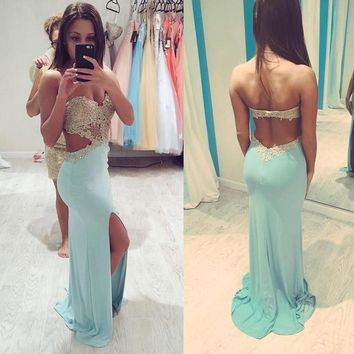 Hot Pinned Baby Blue Prom Dress Backless with Sweetheart Neckline Sparkly Golden Appliques Chiffon Side Slit Mermaid Prom Dress