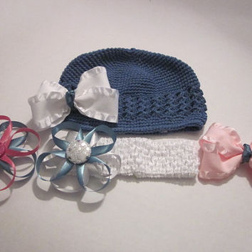 Toddler Crochet Hat, Crochet Headband With Coordinating Hairbows, Bows, Hair Accessories By Sweetpeas Bows & More