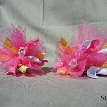 Spring Korkers & Tulle Hair Bow Set  - Santeen Creations