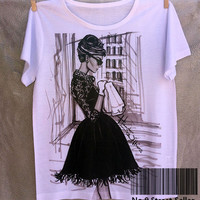 Track Ship+Vintage Retro Summer Fresh T-shirt Top Tee Breakfast at Audrey Hepburn 0208