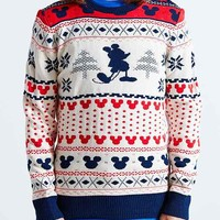 Mickey Mouse Fair Isle Crew Neck Sweater- Cream