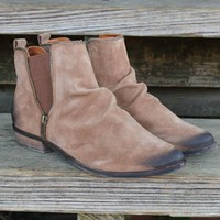 NAUGHTY MONKEY El Paso Tan Distressed Suede Booties