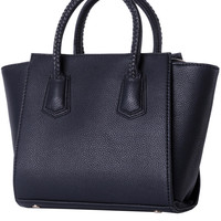 Black Faux Leather Braided Tote Bag