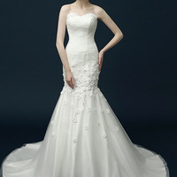 Draped Tulle & Lace Trumpet Wedding Dress