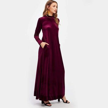 VELVET MAXI DRESS WITH POCKETS