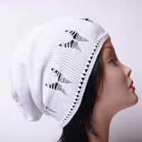 White hat with butterfly and beads bohemian accessories Summer hat white knit beanie crochet hat women's hat cotton beanie