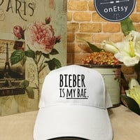 Justin Bieber hat,BIEBER is my bae Baseball Cap Low Profile Dad Hat Baseball Hat,Alien Cap, Girlfriend gift, Black/White