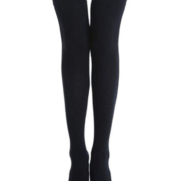 Black Ribbed Detail Thigh High Socks