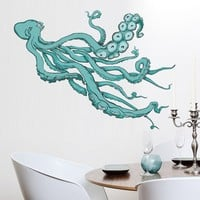 Wall Decal Octopus Tentacles Kraken Color Mural Sticker Decor Art Sea Animal Bedroom Office Dorm Mcol56