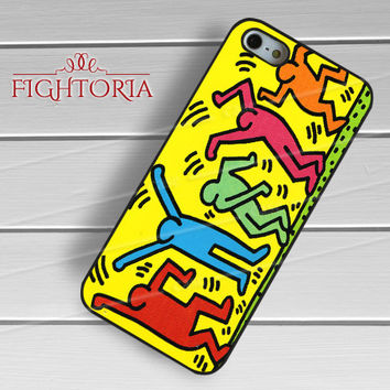 Keith Haring Art Colorful Silhouette Dancing -tri for iPhone 6S case, iPhone 5s case, iPhone 6 case, iPhone 4S, Samsung S6 Edge