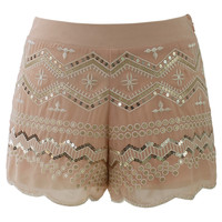 Sequins Embellished Shorts in Peach Red