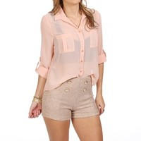 Peach Button Front Top