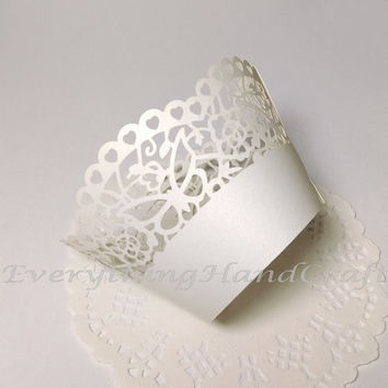 Cupcake Wrappers | Cupcake Liners Filigree | Decorative Party Baby Shower Birthday Wedding| White Pearl Lace Ribbon (12pcs) (#CP29WH)