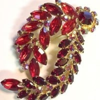 Vintage Red Rhinestone Swirl Brooch Statement Piece