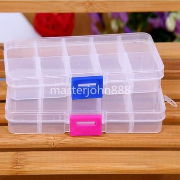 5 Colors Clear Transparent Plastic Guitar Picks Case Holder Guitar Accessories Box Jewelry Case 10 Grids Storage Container