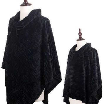 Stripe Pattern Faux Fur Black Poncho
