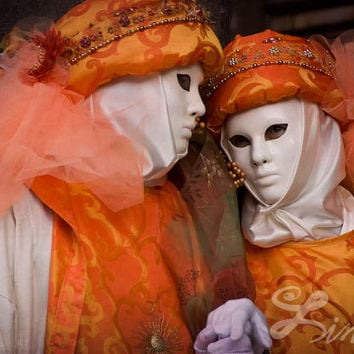 Masquerade Costume Couple at the Venetian Carnival Extra Large Fine Art Photo Prints Mardi Gras Mask Venetian Mask Art Veneto Italy Wall Art