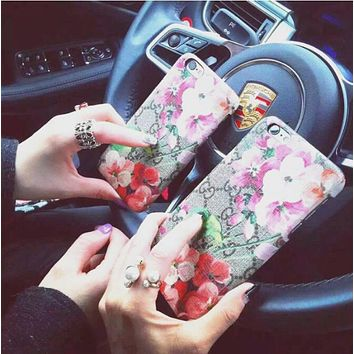 GUCCI Fashion Couple Flower Letter Print iPhone Phone Cover Case For iphone 6 6s 6plus 6s-plus 7 7plus iphone X I