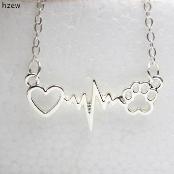 ICIKW8 hzew cute Animal vintage jewelry necklaces love Cats and Dogs Paws and heart Heartbeat necklace Paw necklaces & pendants