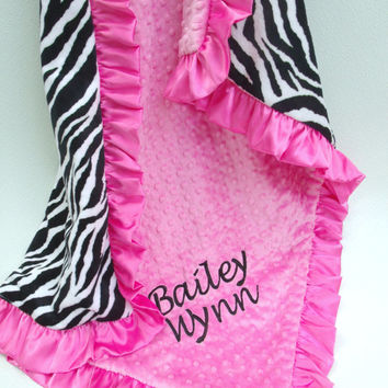 ON SALE Pink Zebra Minky Blanket - Minky Baby Blanket