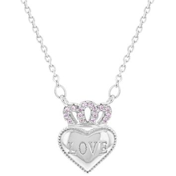 """925 Sterling Silver Pink CZ Crown Heart Pendant Necklace for Girls Teens 16"""""""