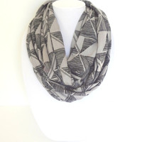 Gray Infinity Scarf, Jersey Scarf, Geometric Scarf, Spring Infinity Scarf, Gift For Her, Mother's Day Gift