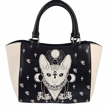 Banned Gothic Bastet Sphynx Cat Occult Goth Satchel Handbag