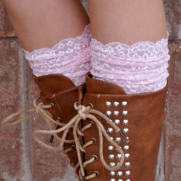 Lace Boot Cuffs - Faux Lace Boot Socks - Faux Lace Leg Warmers - Lace Boot Topper - Faux Knee High Sock - Womens - Pink