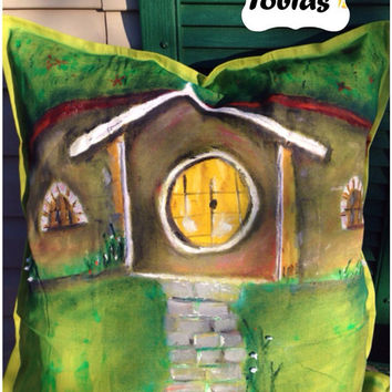 Decorative pillow, oil paint, hobbit's house, cushion, satin embroidery ribbon, art, pillow