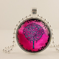 "Hot pink and blue 1"" Tree and flower glass and metal Pendant necklace Jewelry."