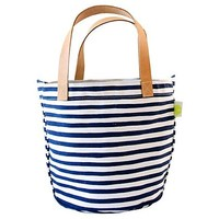 Leather Handle Karma Circle Tote, Navy