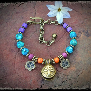 GYPSY BRACELET brass jingle bell charm PURPLE Orange Hippie bracelet Smiley Face stackable bracelet Gypsy beaded bracelet nomad jewelry