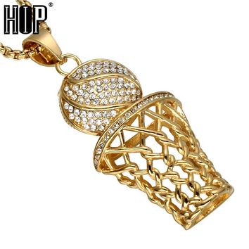 HIP Hop Iced Out Bling Full Rhinestone Men Basketball Pendants Necklaces Gold Stainless Steel Sports Necklace for Men FREE SHIPPING