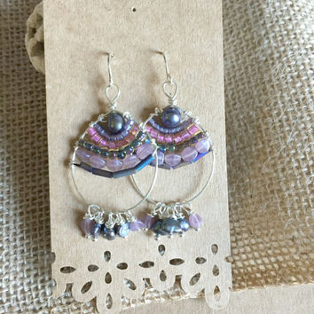 Purple Beaded Hoop Earrings - Silver Wire Wrapped Earrings - Beaded Hoop Earrings - Beaded Chandelier Earrings - Mosaic Earrings