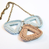 Organic cotton crochet necklace, mint and beige, triangle, geometric, eco friendly