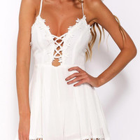 White Lace Up Front Cross Back Applique Pom Pom Romper Playsuit