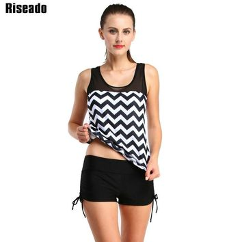 Riseado 2018 Tankini Two-piece Swimsuit Swimwear Women Mesh Striped Printed Summer Boyshort Beachwear Bathing Suit XXL