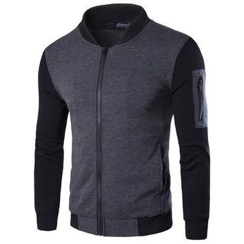 Mens Casual Jogging Zip-Up Jacket with Side Pocket
