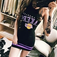 Sport Fashion Stripe Letter Print Package hip Sleeveless Vest Mini Dress