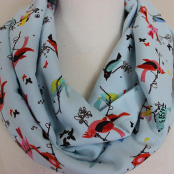 Colorful Bird Print Scarf, Blue Infinity Scarf, Women's Scarves, Birds, Navy Blue Circle Scarf, Blue Bird Scarves, Gift For Her, Scarf Angel