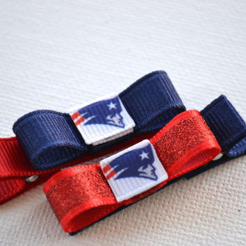 New England Patriots Hair Clips - Toddler Hair Clips - New England Patriots Bows - New England Patriots Stocking Stuffer