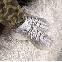 "Adidas Yeezy Stone texture Women Men Boost 380 V3 ""Alien"" FV3260 Joint Limited Coconut  Shoes Gray"