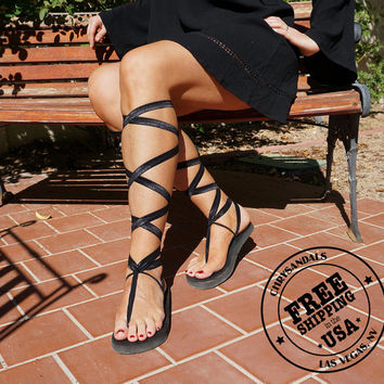 Knee High Lace Up Gladiator Sandals in Black- Women's Sandals-Boho Sandals-Vegan Sandals
