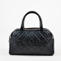 Chanel Black Leather Glossy Logo Detail and Top Handle Quilted Bowler Bag