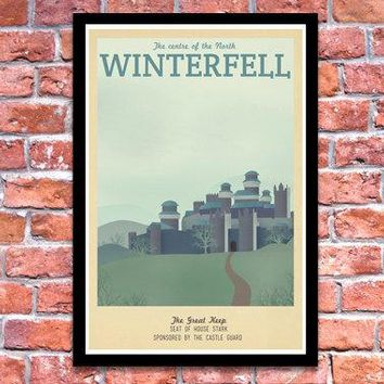 Retro Travel Poster   Game Of Thrones   Winterfell   A3 Modern Vintage Stark Lannister Jon Snow Tyrion Daenerys Typography Art Print