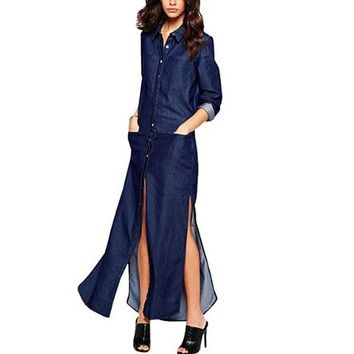 [15778] Button Down Long Sleeve Side Split Denim Maxi Dress