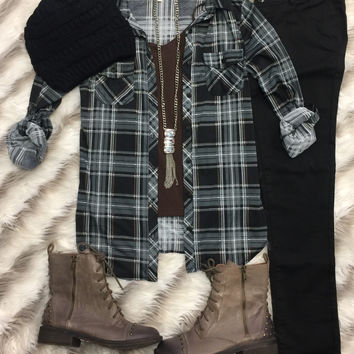 Penny Plaid Flannel Top: Black/Brown