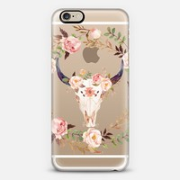 Watercolour Floral Bull Skull - Transparent iPhone 6 case by RubyRidgeStudios | Casetify