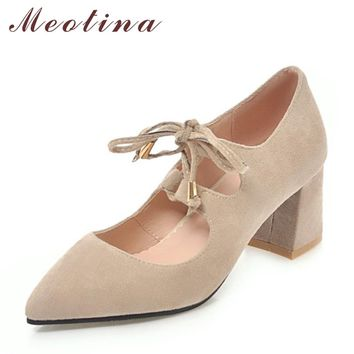 Meotina Women Shoes High Heels Female Pumps Lace Up Thick Heels Pointed Toe