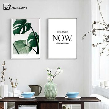 Nordic Decoration Leaves Motivational Posters and Prints Canvas Art Paintings Wall Picture for Living Room Wall Art Home Decor